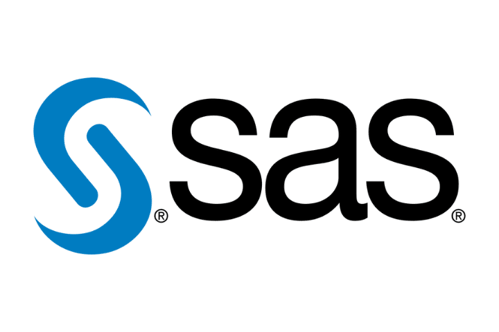 SAS blue logo to the left of black sas text on white background.