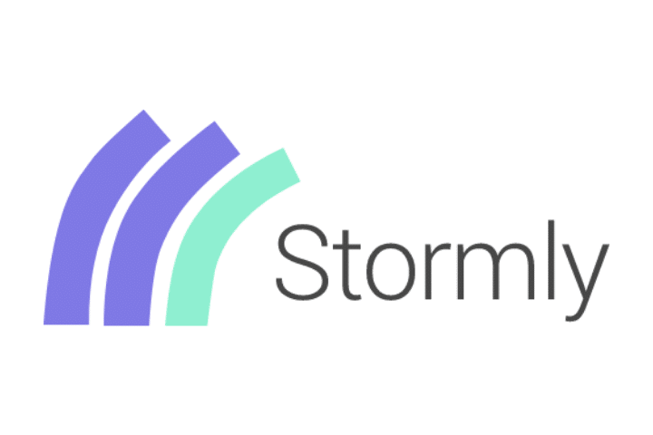 Stormly black sign with the logo on the left