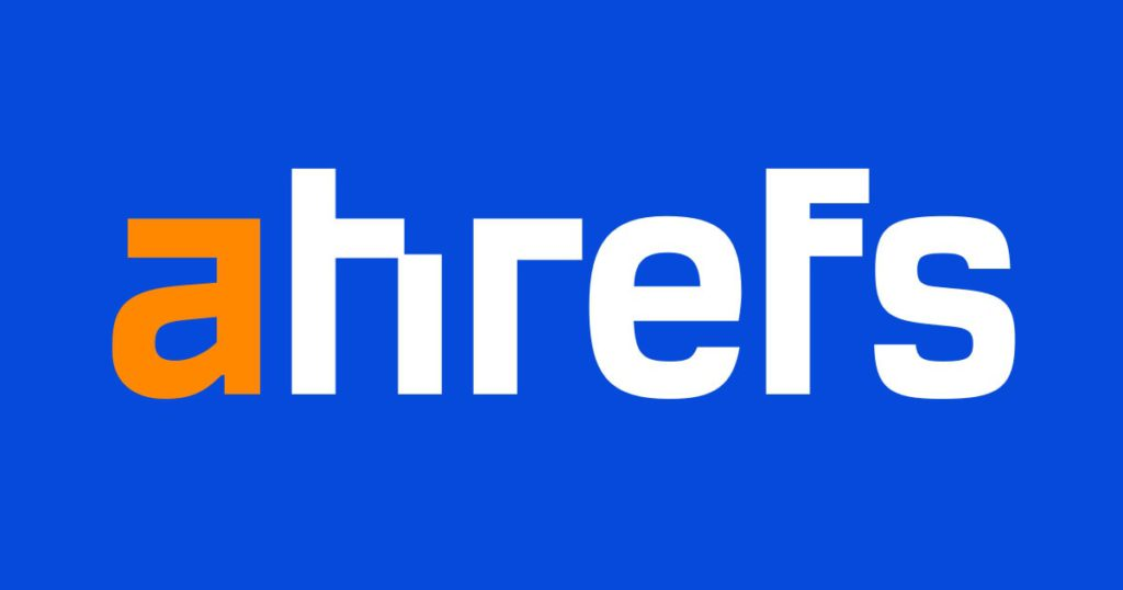 ahrefs sign on a blue background