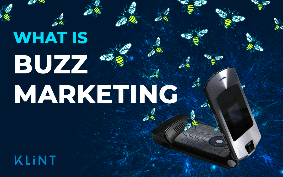 """visual representation of buzz marketing. A flip phone with bee's flying out. Text overlaid: """"what is buzz marketing"""""""