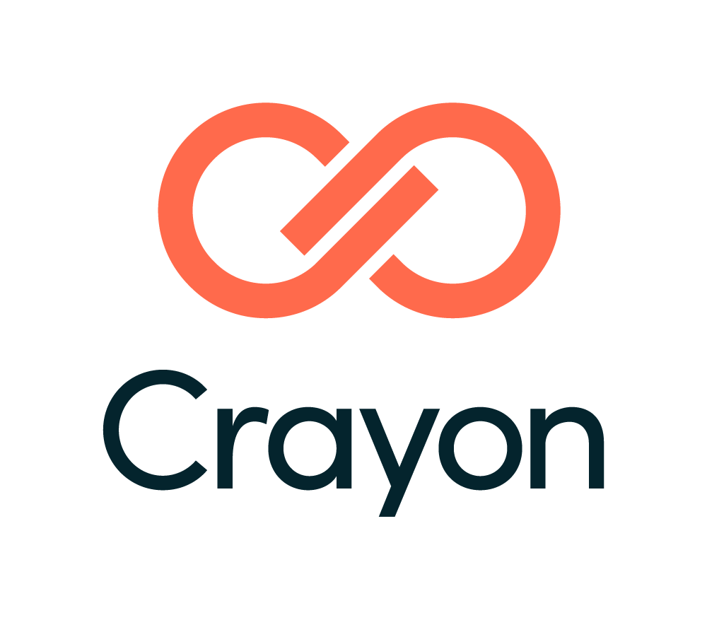 Crayon sign with its logo on the top