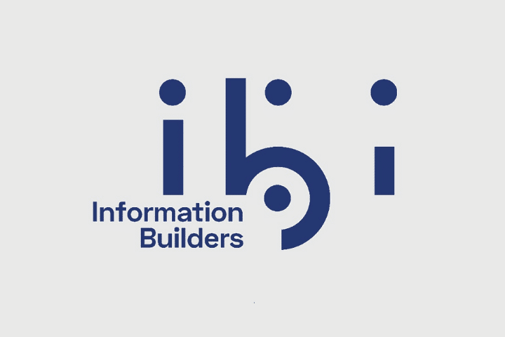 Navy ibi information builders text on gray background.