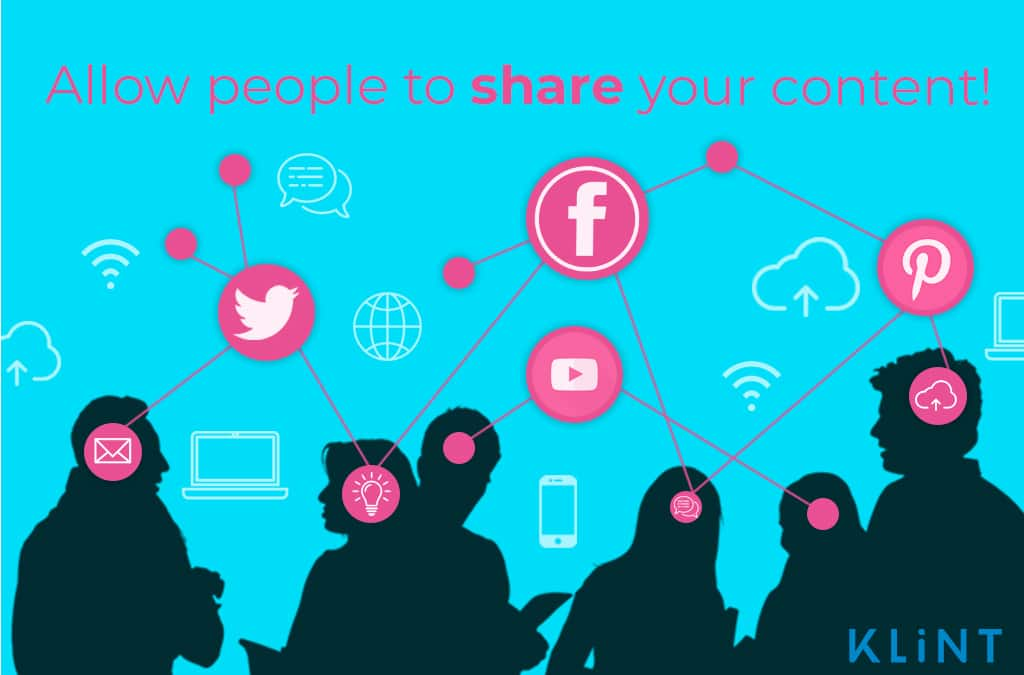 """silhouettes of people connected by a network of social media icons. Text overlaid: """"allow people to share your content!"""""""
