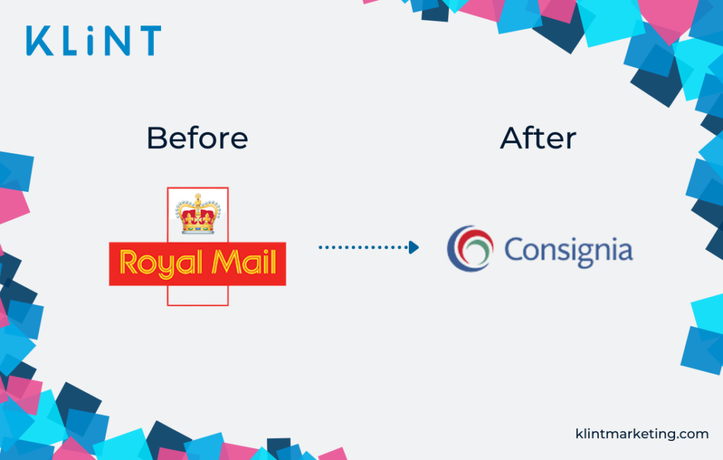 Royal Mail to Consignia rebranding logo before and after.