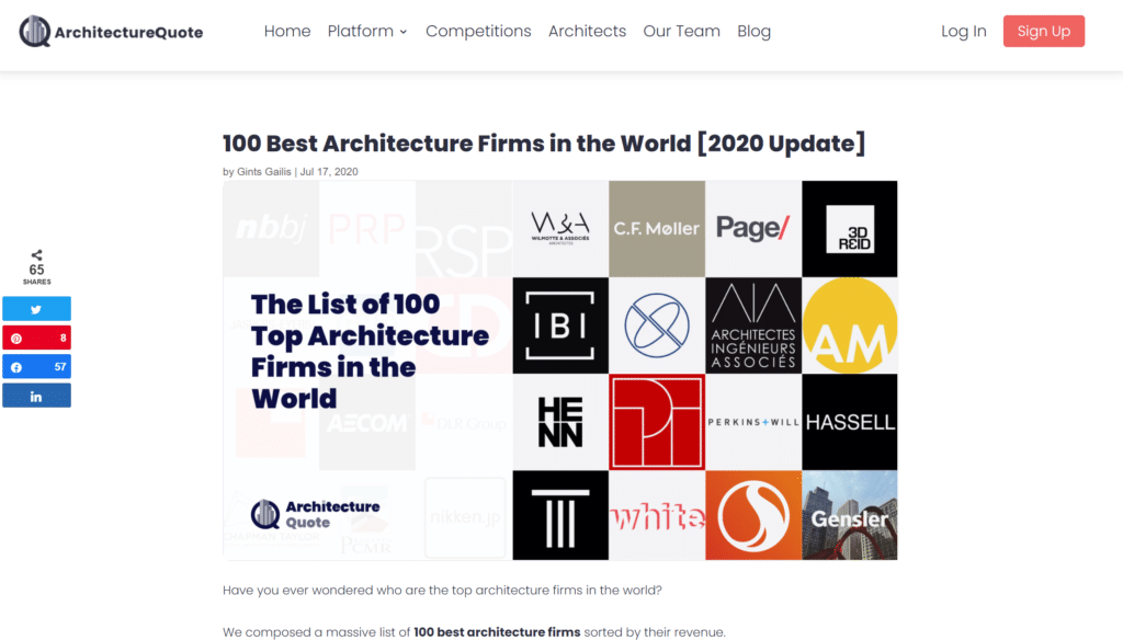 Screenshot of Architecture Quote content writing samples