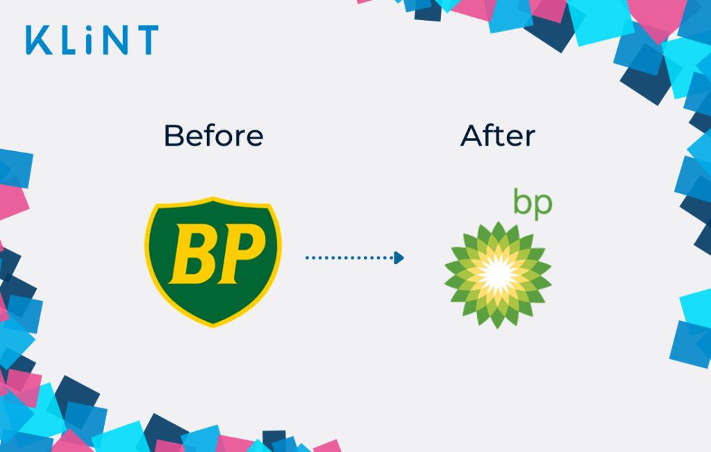 British Petroleum rebranding logo before and after