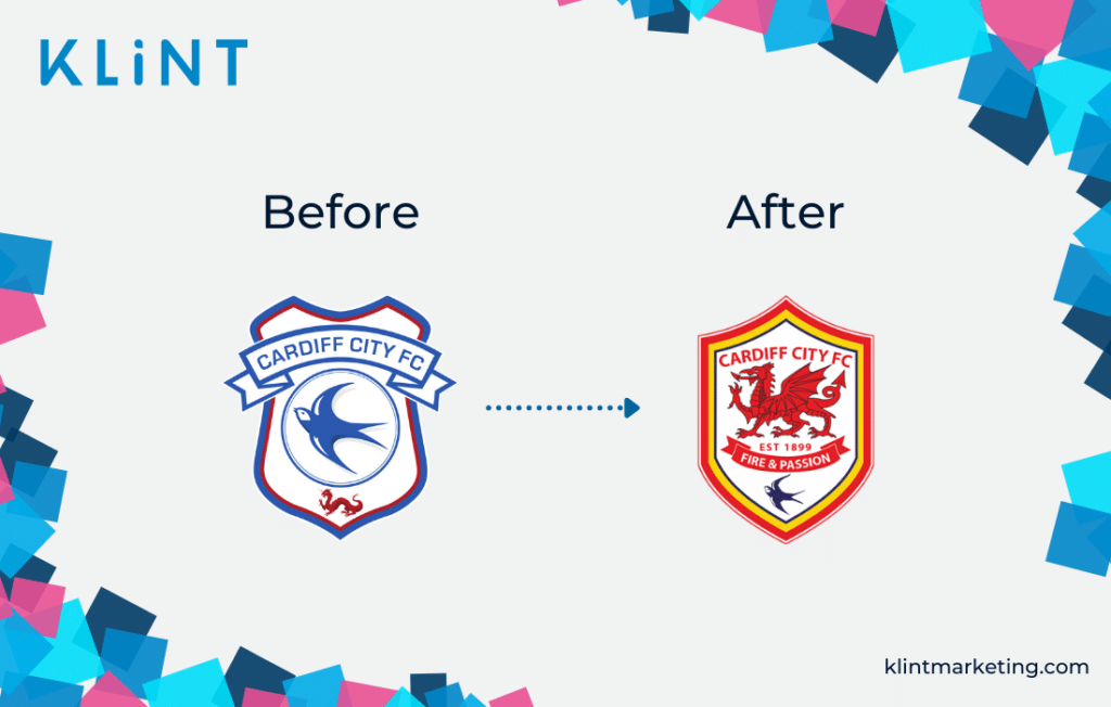 Cardiff City FC rebranding logo before and after.