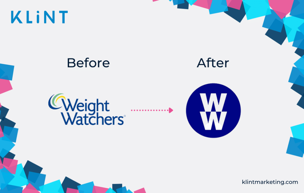 Weight Watchers rebranding logo before and after.