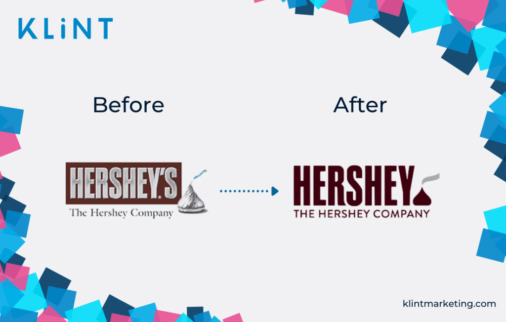 Hershey's rebranding before and after.