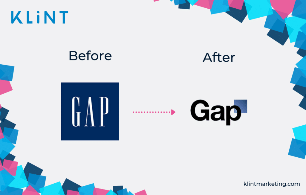 GAP rebranding before and after