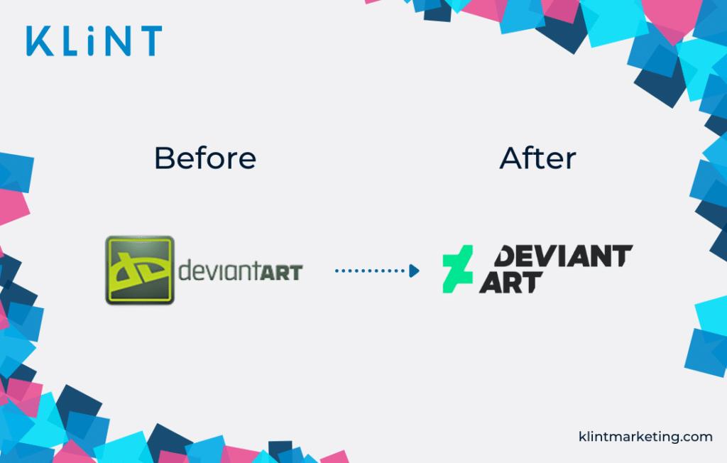 DeviantArt rebranding before and after