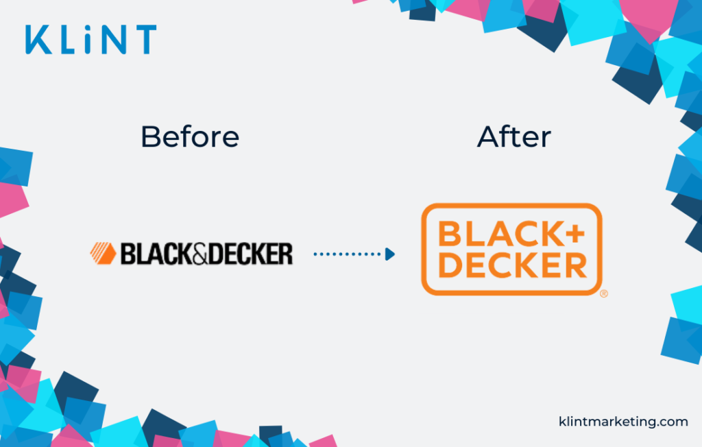 Black and Decker rebranding before and after