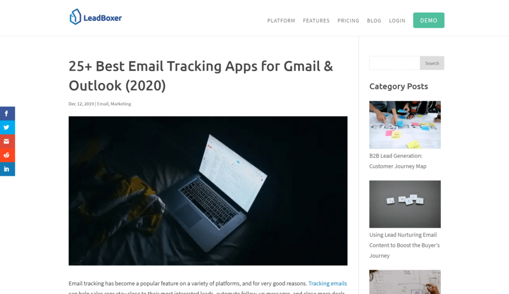 Screenshot of Leadboxer content writing samples