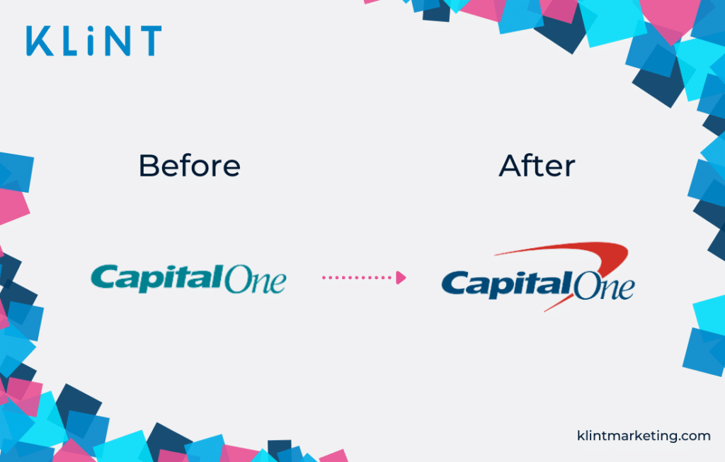 CapitalOne rebranding before and after