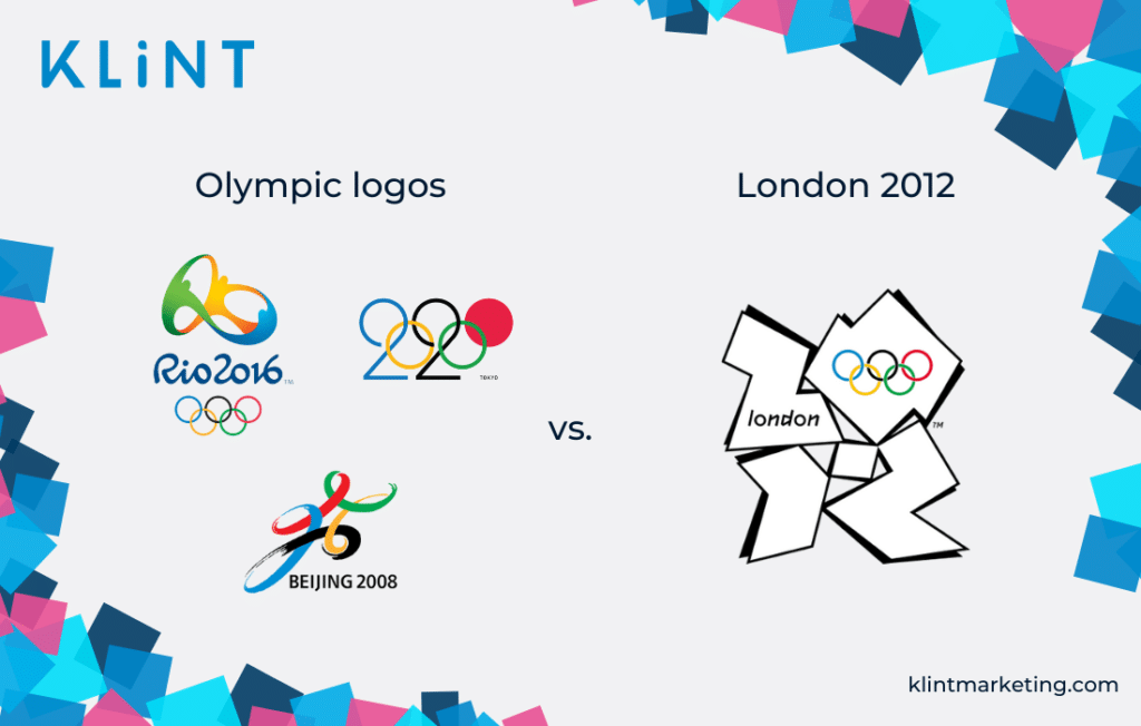 London Olympics logo 2012 vs. logos from other Olympic games.