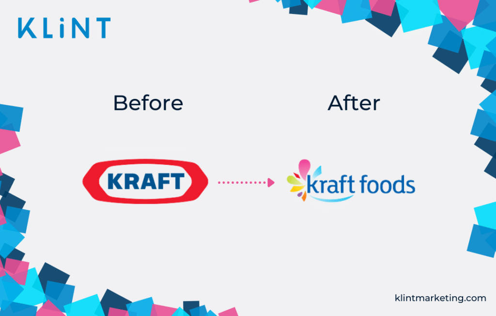 Kraft logo fail - before and after