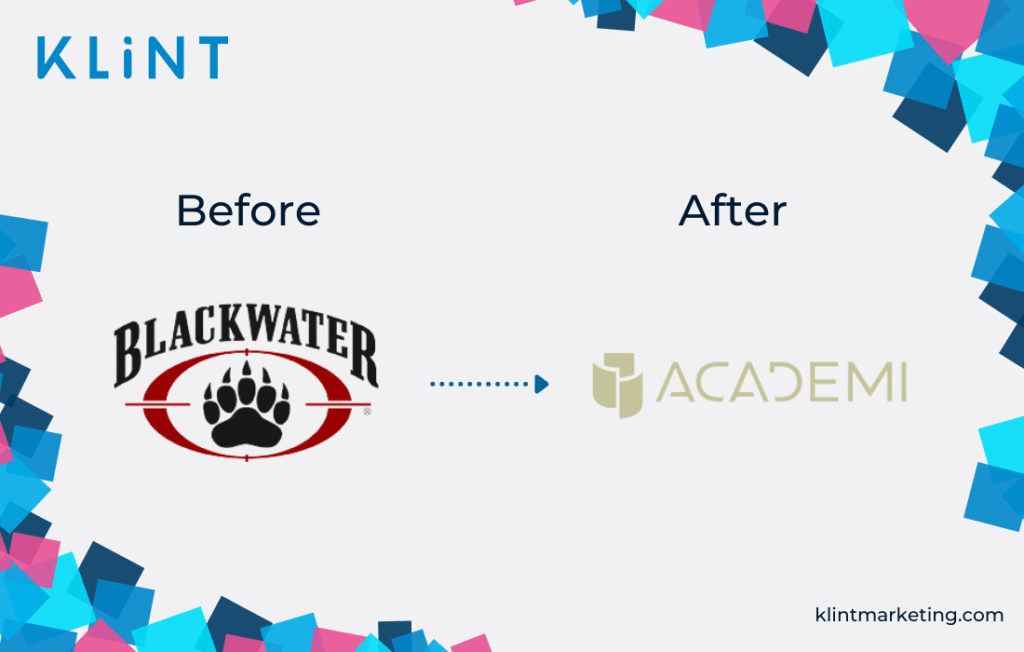 Blackwater rebranding to Academi before and after