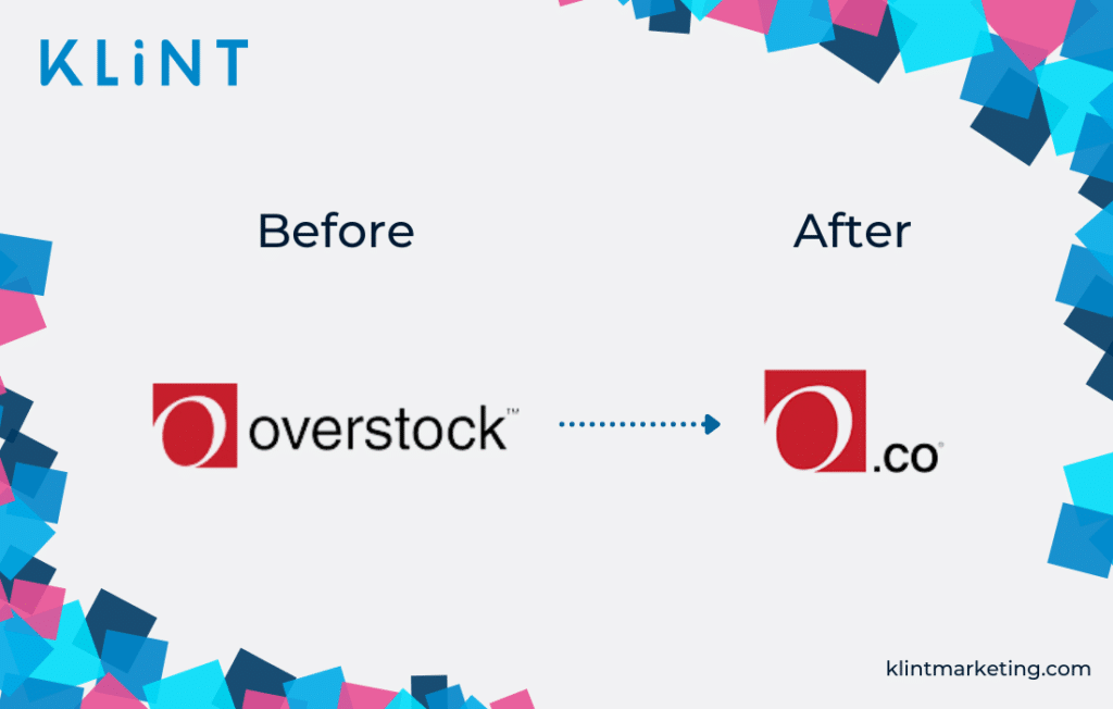 Overstock.com rebranding before and after