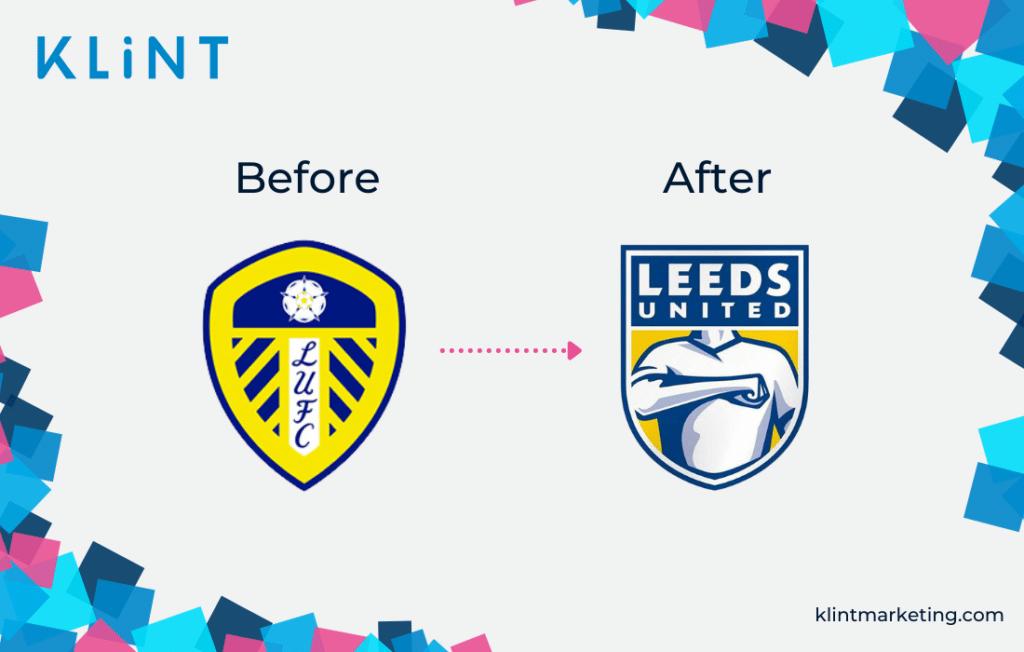 Leeds United bad branding example.