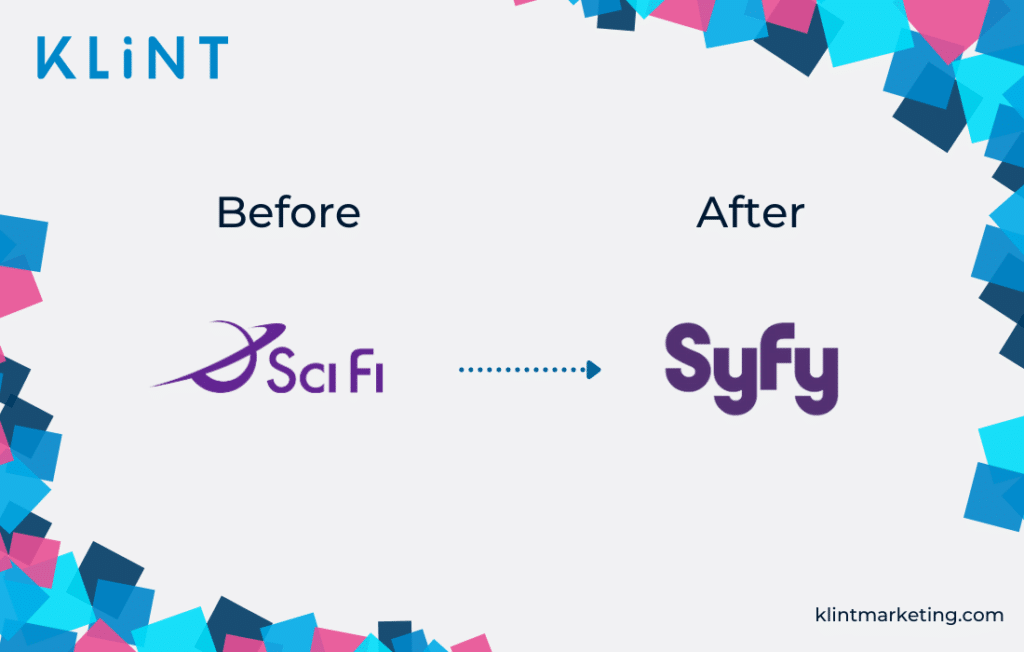 SyFy rebranding logo before and after.