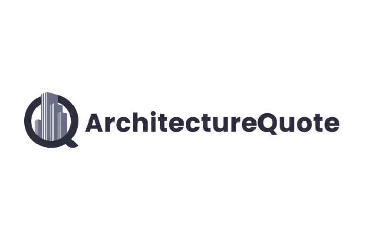 Architecture quote logo black text white background