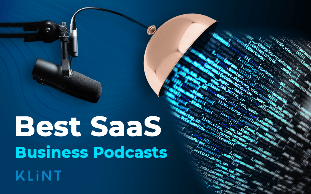 """Graphic representation of SaaS podcasts. A microphone is connected to a speaker which is releasing streams of data. Text overlaid: """"best SaaS business podcasts"""""""