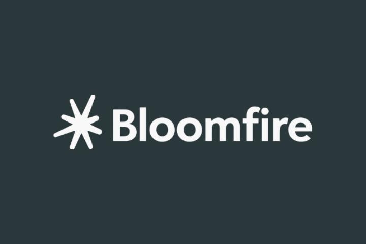 bloomfire logo white text black background