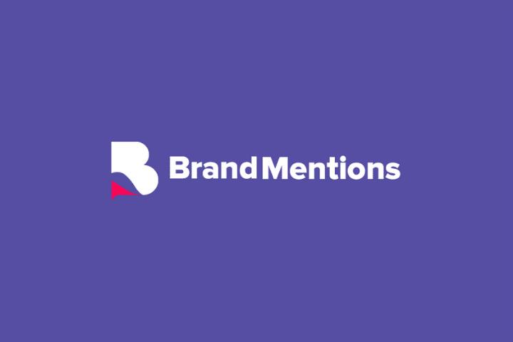 brandmentions Logo, white text purple background