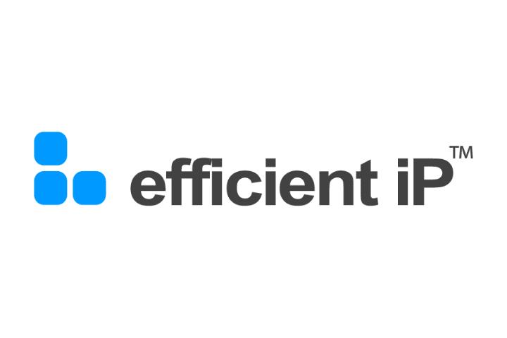 efficient ip Logo, black text white background blue logo