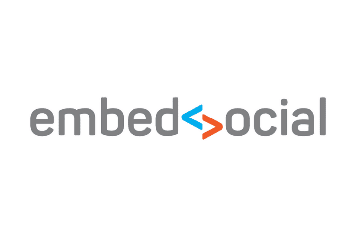 embedsocial logo gray, blue and orange text white background
