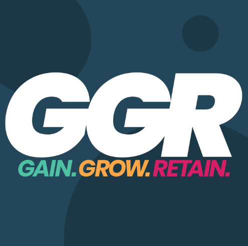"""The animated picture has the text """"GGR - Gain.Grow.Retain."""" written on a dark blue background."""