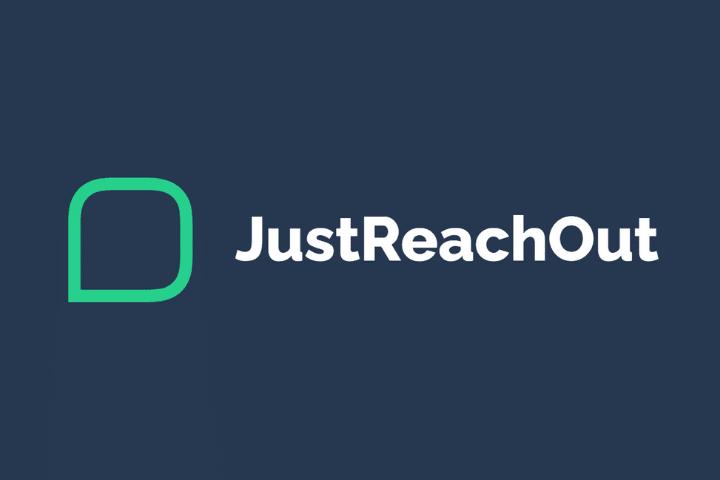 Justreachout Logo, white text navy background