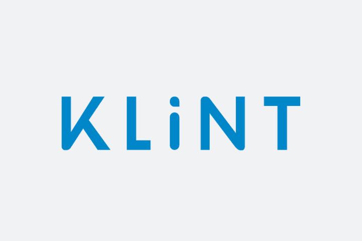 Klint Logo, blue text gray background