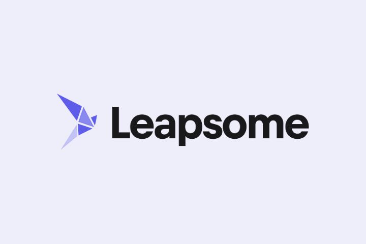 leapsome logo black text purple background