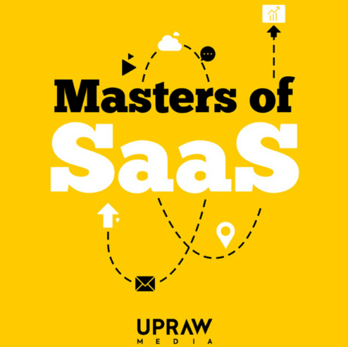 """The animated picture has the text """"Masters of SaaS"""" written on a yellow background."""