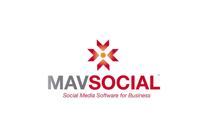 mavsocial Logo, gray and red text white background