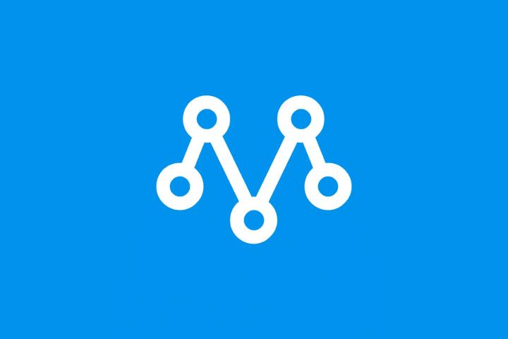 Metrilo Logo, white m logo on blue background
