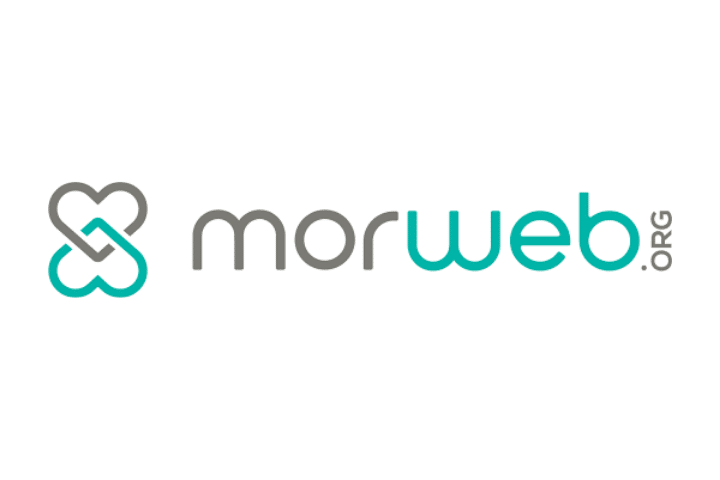morweb Logo, gray and green text white background