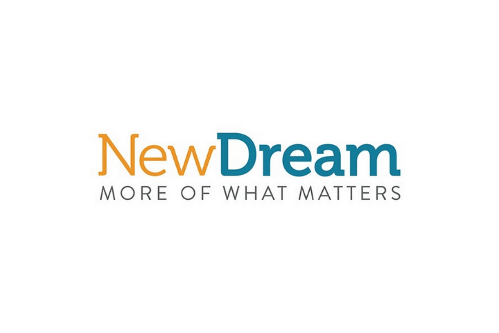 NewDream Logo, orange and blue text white background