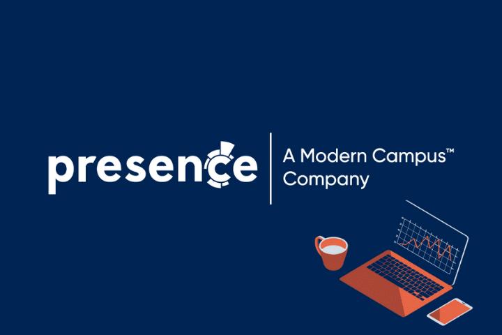 Presence Logo, white text navy background with orange laptop graphic