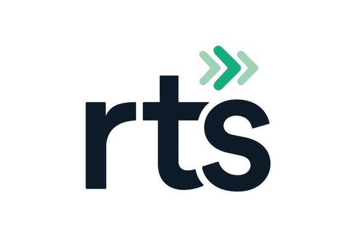 RTS logo, black text white background
