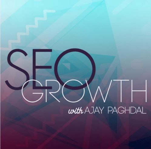 """The animated picture has the text """"SEO growth with Ajay Paghdal"""" written on a colorful background."""