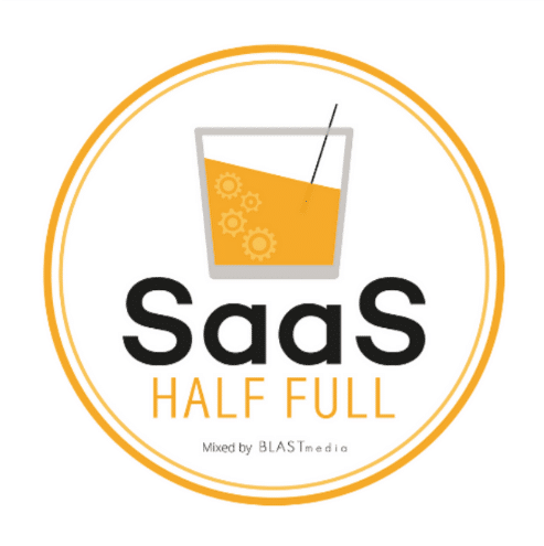 """The animated picture has a drink on a glass with the text """"SaaS Half full"""" written on a white background with orange circular border."""