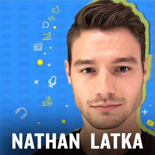 """The image consists of a guy with the text """"Nathan Latka"""" on a animated blue background."""
