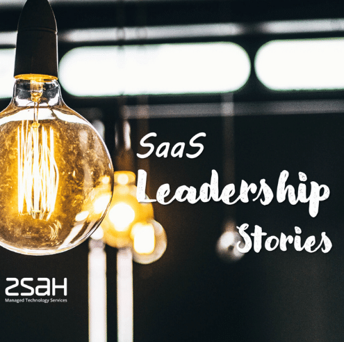 """The picture shows lightbulbs with the text """"SaaS leadership stories. ZSaH"""" on a black background."""