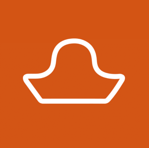 The animated picture shows the white outline of a pirate's hat on a dark orange background.