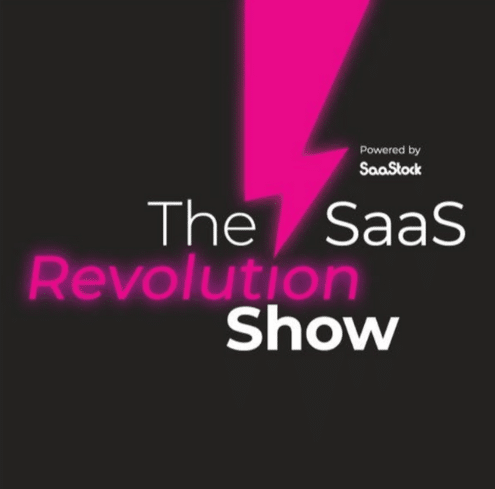 """The animated picture has a neon pink thunder with the text """"POwered by SaaStock, The SaaS revolution show"""" on a black background."""