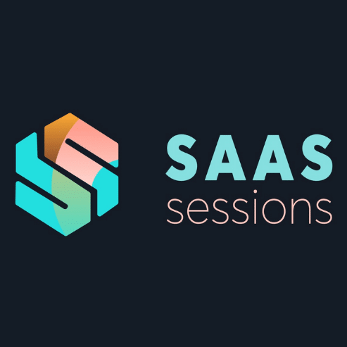 """The picture has the text """"SAAS sessions"""" with a colorful logo on a black background."""