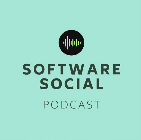 """The image has the text """"Software Social Podcast"""" with a logo on a mint green background."""