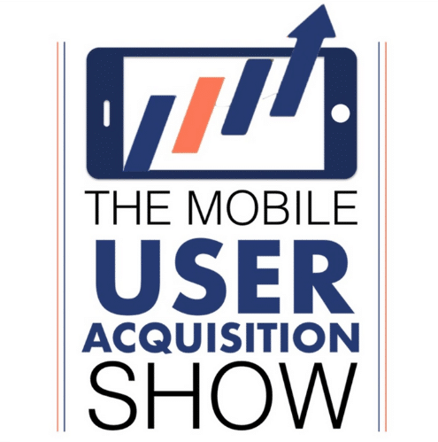 """The animated image shows a mobile screen with arrows pointing up and the text """"The mobile user acquisition show"""" on a white background."""